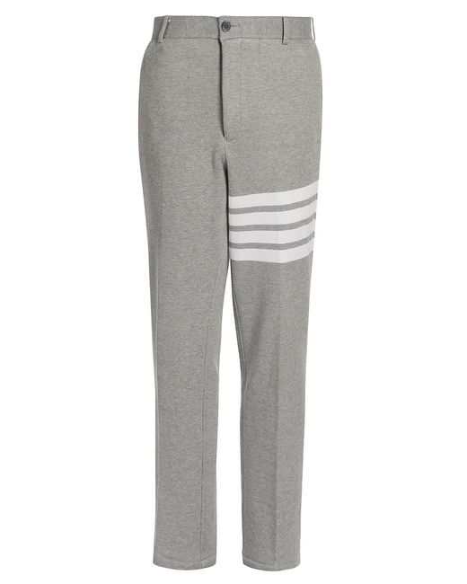 Thom Browne Gray Uncontructed Striped Chino Pants for men