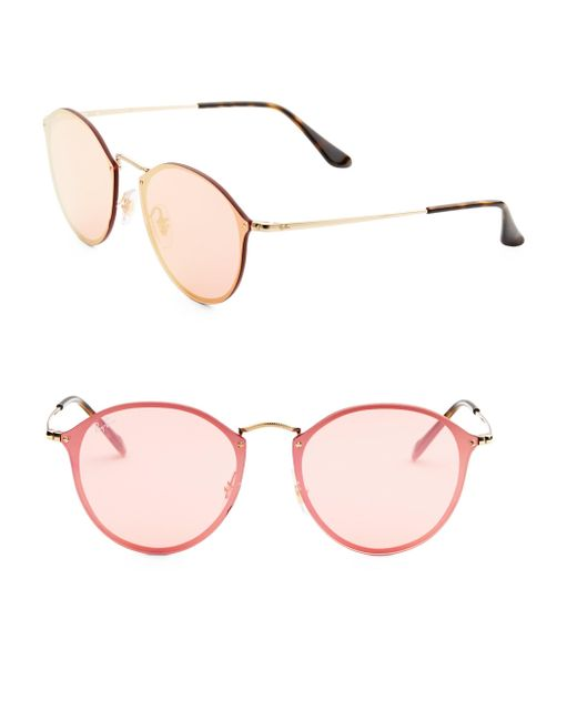 babd1222d6 Lyst - Ray-Ban 59mm Blaze Mirrored Round Sunglasses in Pink