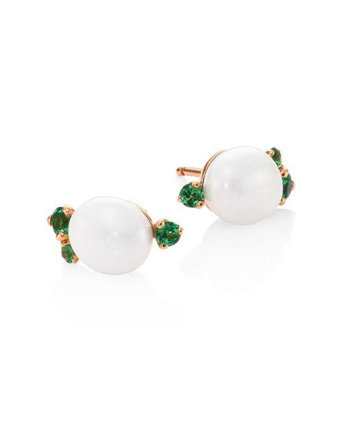 Pomellato   Metallic Tsavorite, Ceramic & 18k Rose Gold Stud Earrings   Lyst
