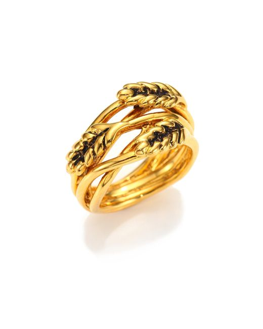 Aurelie Bidermann - Metallic Wheat Ring/goldtone - Lyst