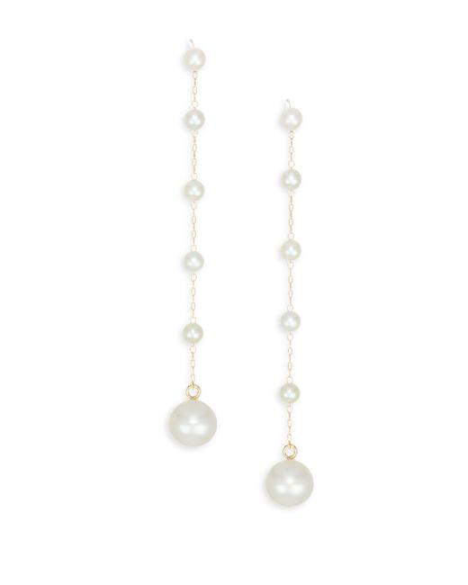 Mizuki - Metallic 14k Yellow Gold & Pearl Drop Earrings - Lyst