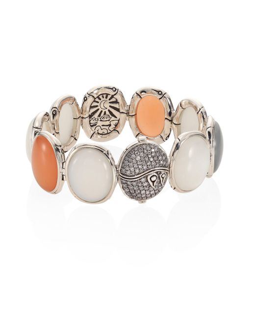 John Hardy - Metallic Bamboo Diamond Pave & Multicolor Moonstone Bracelet - Lyst
