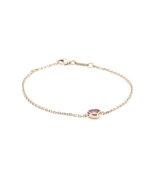 Anita Ko - Metallic Ruby Heart Rose Gold Chain Bracelet - Lyst