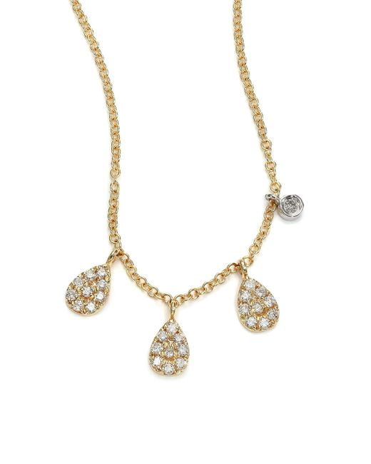 Meira T | Metallic Diamond & 14k Yellow Gold Pear Charm Necklace | Lyst