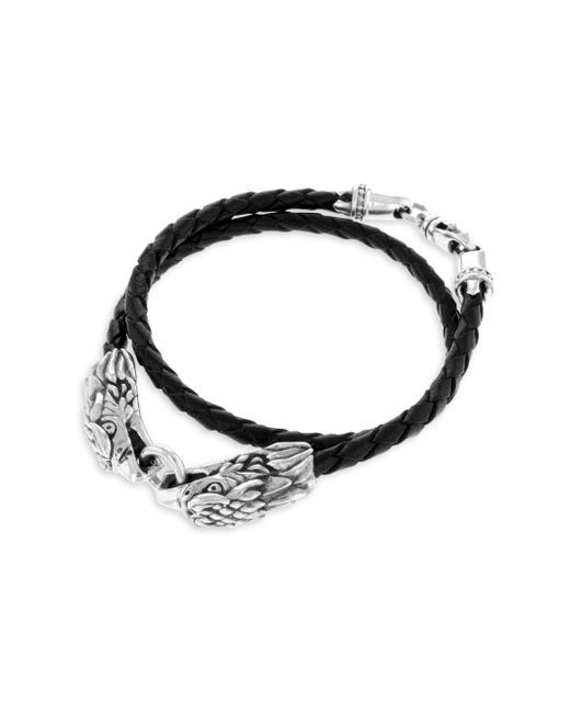 King Baby Studio - Metallic Sterling Silver Leather Double Eagle Braided Bracelet - Lyst
