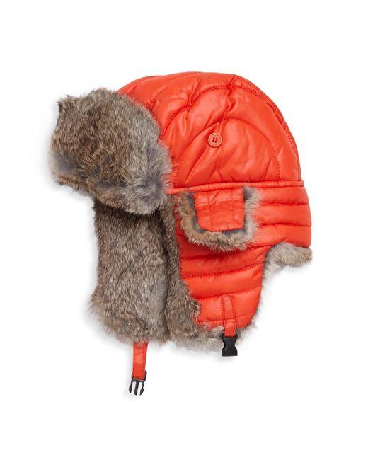 Crown Cap - Orange Puffle Rabbit Fur-trimmed Trapper Hat - Lyst