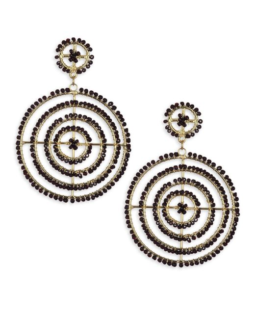 Kenneth Jay Lane - Metallic Jet Bead Gypsy Hoop Earrings - Lyst