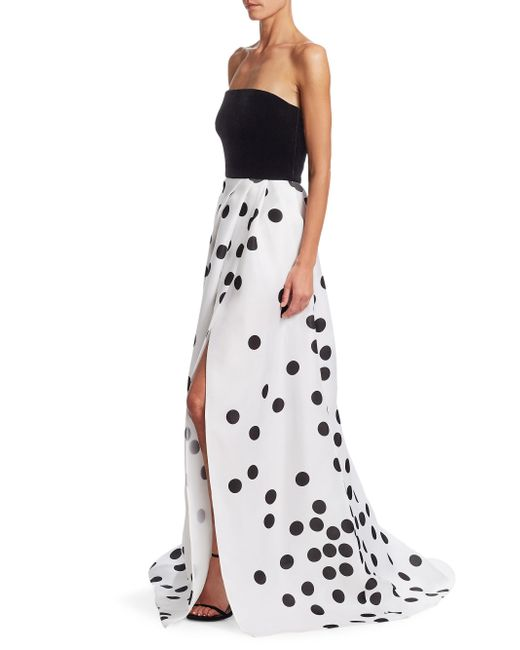 Monique Lhuillier - White Strapless Velvet Polka Dot Gown - Lyst