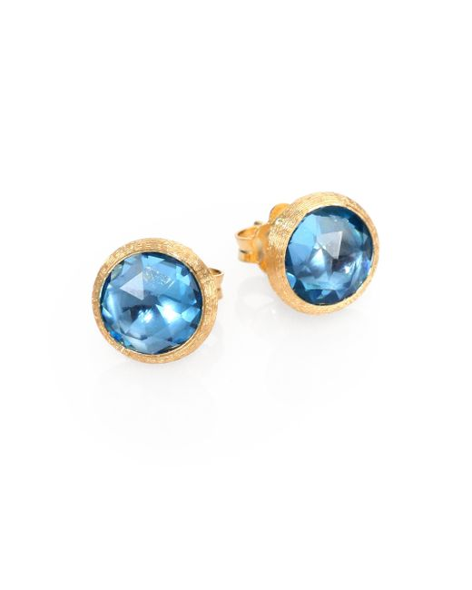 Marco Bicego - Jaipur Blue Topaz & 18k Yellow Gold Stud Earrings - Lyst