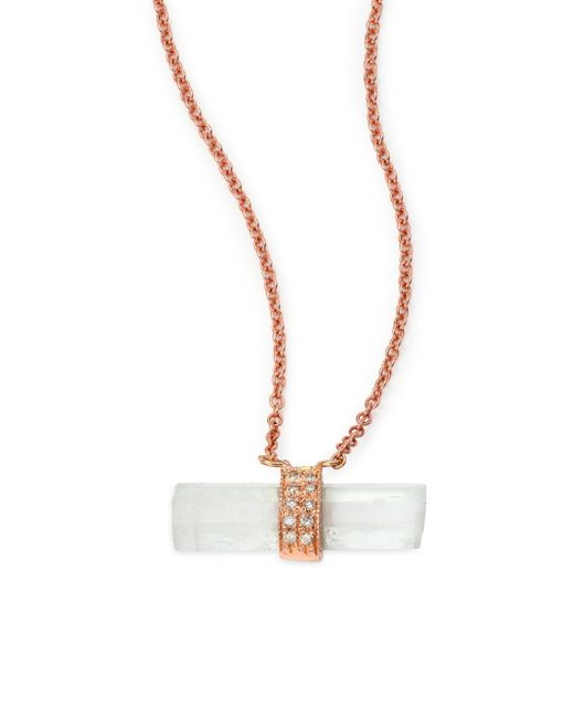 Jacquie Aiche - Pink Aquamarine, Diamond & 14k Rose Gold Aura Bar Pendant Necklace - Lyst