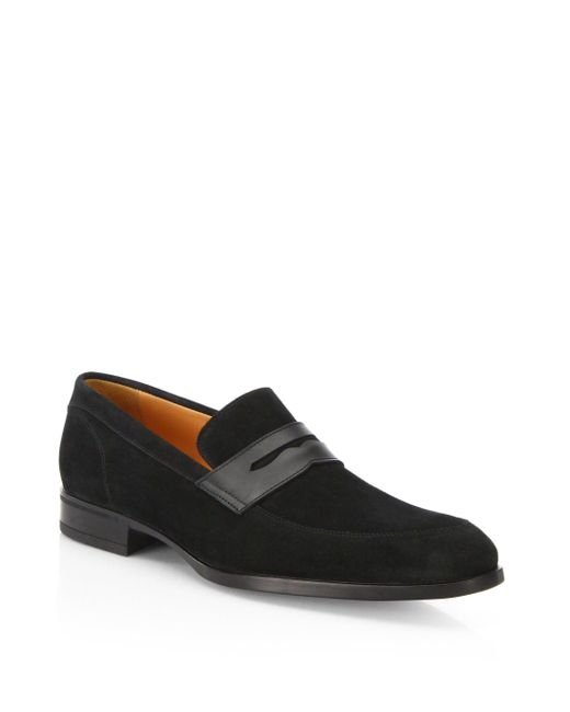 Saks Fifth Avenue - Black Suede Penny Loafers for Men - Lyst