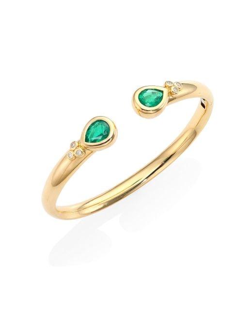 Temple St. Clair - Metallic Bella Diamond, Emerald & 18k Yellow Gold Bangle Bracelet - Lyst