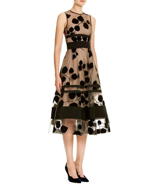Carolina Herrera - Black Leaf-embroidered Flocked Velvet Dress - Lyst
