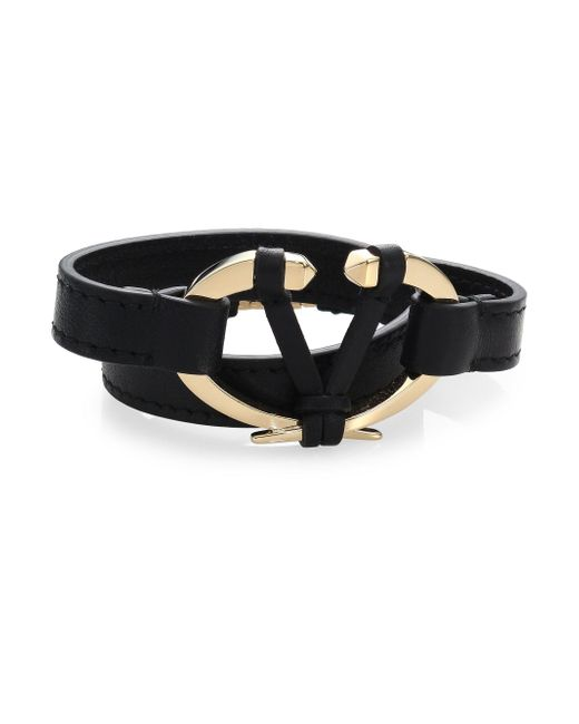 Valentino - Black Rivet Leather Bracelet - Lyst