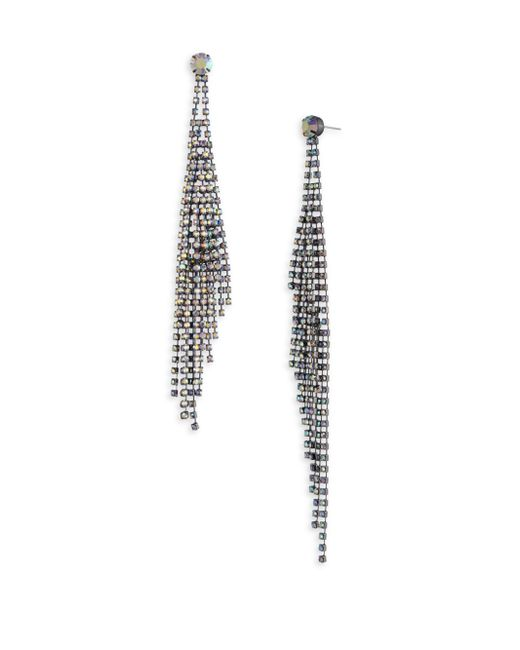 ABS By Allen Schwartz - Metallic Rhinestone Fringe Shoulder Duster Earrings - Lyst