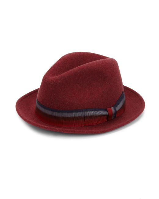 Saks Fifth Avenue | Red Collection Grosgrain Wool Fedora Hat for Men | Lyst