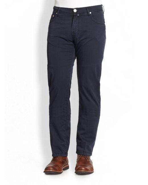 Corneliani - Blue Five-pocket Cotton Pants for Men - Lyst