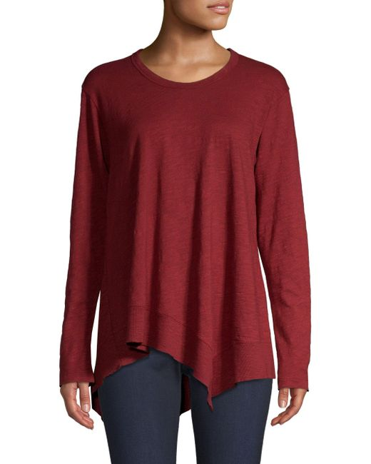 Wilt - Red Asymmetric Ribbed Long-sleeve Shirt - Lyst