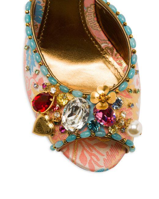 ef34f98050d7 ... Dolce   Gabbana - Multicolor Women s Jeweled Slide Sandals - Pink  Jacquard ...