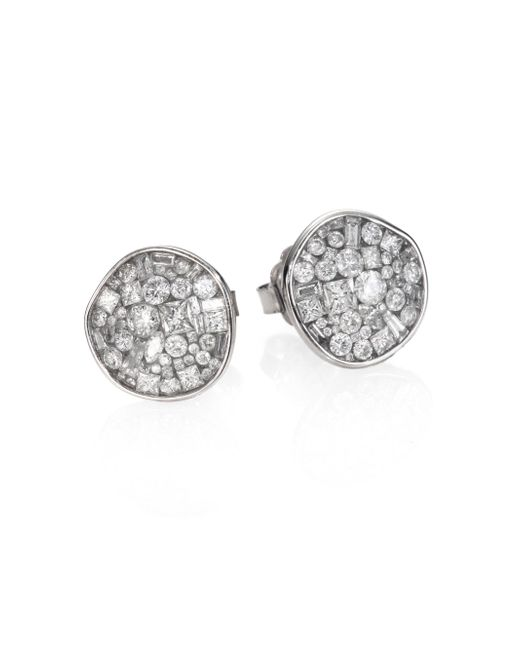 Plevé - Ice Diamond & 18k White Gold Pebble Button Earrings - Lyst