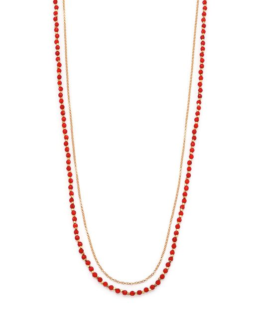 Astley Clarke | Metallic Red Agate & White Sapphire Long Beaded Hamsa Charm Necklace | Lyst