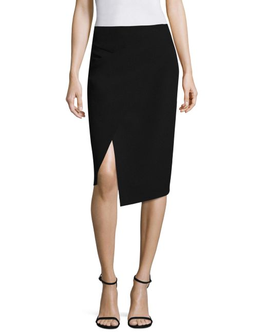 Donna Karan - Black Midi Wrap Skirt - Lyst