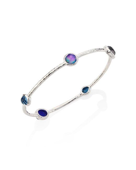 Ippolita - Blue Sterling Silver Rock Candy Eclipse Five-stone Bangle Bracelet - Lyst