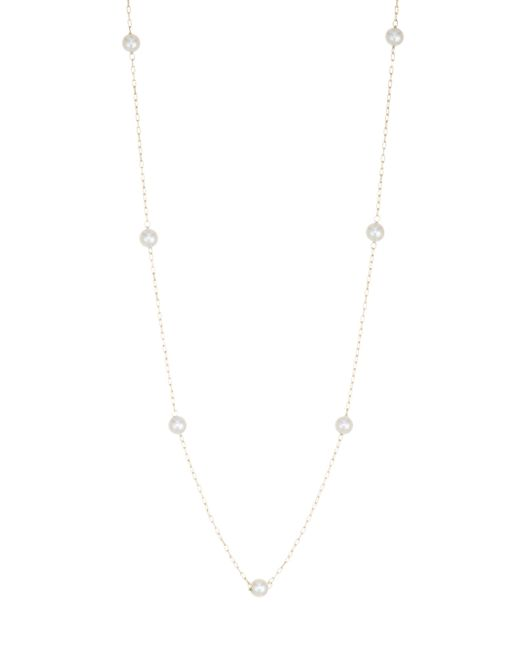 Mizuki - Metallic 14k Long Pearl Station Necklace - Lyst