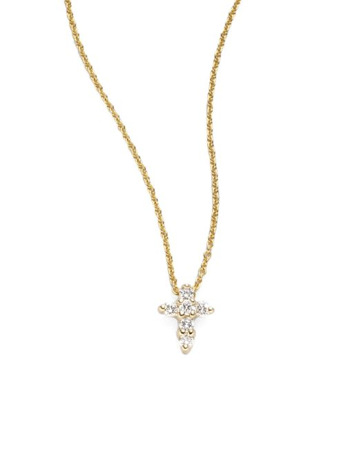 Roberto Coin | Metallic Tiny Treasures Diamond & 18k Yellow Gold Mini Cross Pendant | Lyst