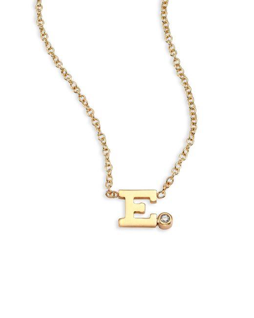 Zoe Chicco - Metallic Diamond & 14k Yellow Gold Initial Pendant Necklace - Lyst