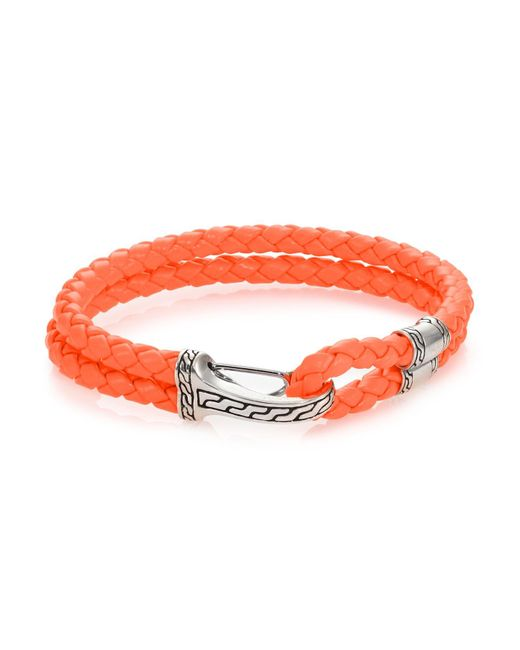 John Hardy Orange Classic Chain Silver Hook Station Leather Bracelet for men