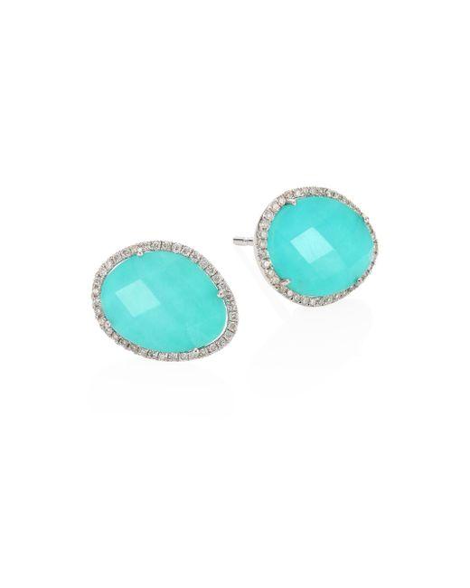 Meira T - Blue Diamond, Turquoise Doublet & 14k White Gold Stud Earrings - Lyst