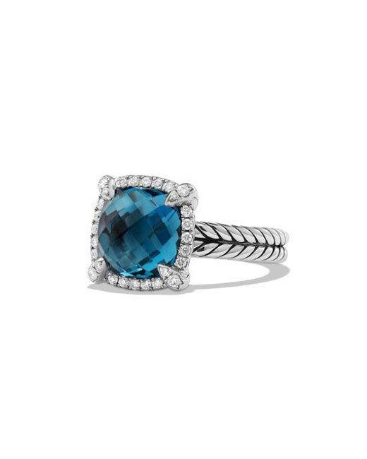 David Yurman - Châtelaine Pave Bezel Ring With Hampton Blue Topaz And Diamonds - Lyst