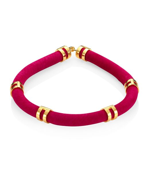 Lizzie Fortunato - Pink Double Take Suede Tube Necklace - Lyst