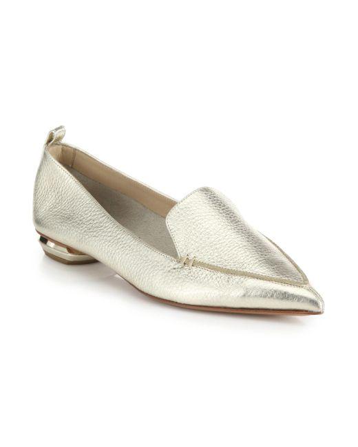 Nicholas Kirkwood - Women's Bottal Metallic Leather Point Toe Loafers - Platino - Size 41.5 (11.5) - Lyst