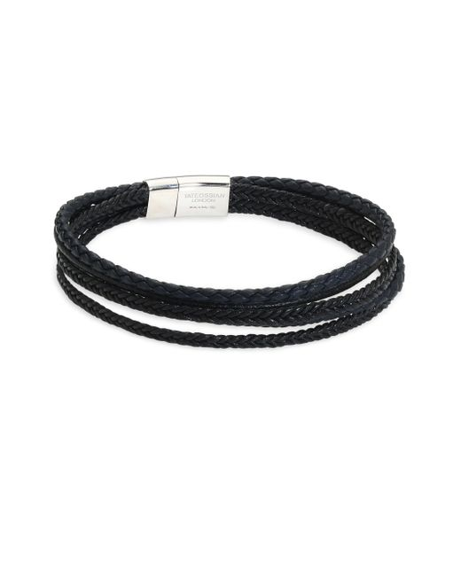 Tateossian - Black Cobra Leather Bracelet - Lyst