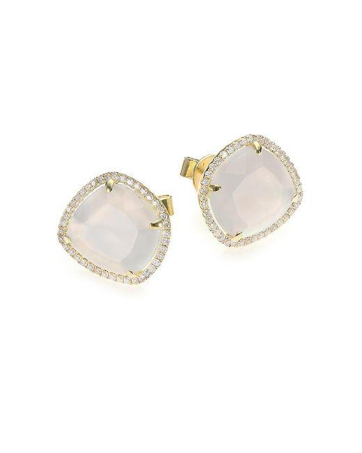 Meira T Metallic Chalcedony, Mother-of-pearl, Diamond & 14k Yellow Gold Doublet Stud Earrings