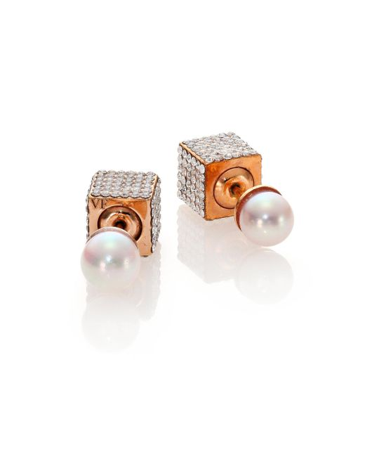 Vita Fede | Double Cubo 6mm White Pearl & Crystal Two-sided Earrings | Lyst