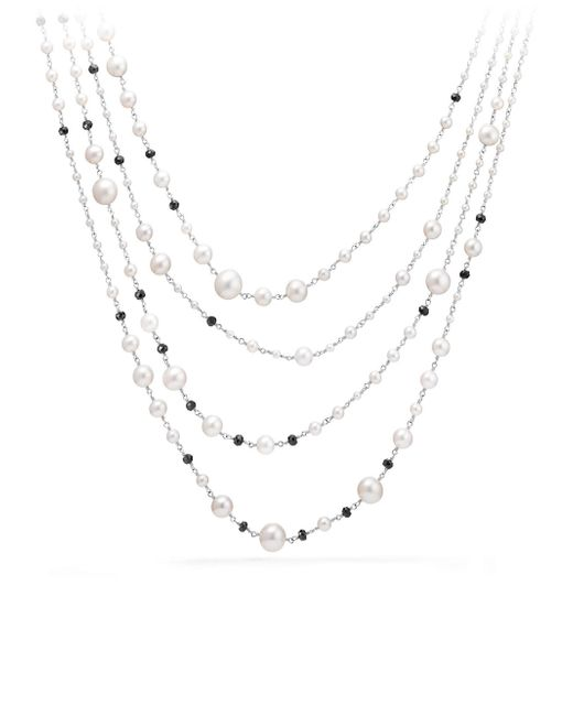 David Yurman | Metallic Oceanica Pearl And Bead Link Necklace With Pearls And Black Spinel | Lyst