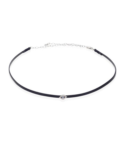 Sydney Evan - Bezel Evil Eye Diamond, Blue Sapphire & Leather Choker - Lyst