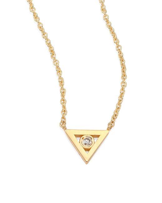 Sydney Evan - Metallic Bezel Triangle Diamond & 14k Yellow Gold Pendant Necklace - Lyst