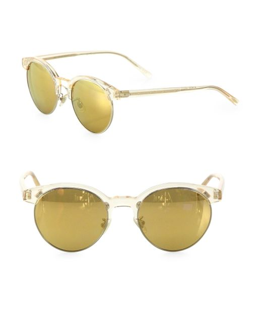 Oliver Peoples | Yellow Ezelle 51mm Round Mirrored Sunglasses | Lyst