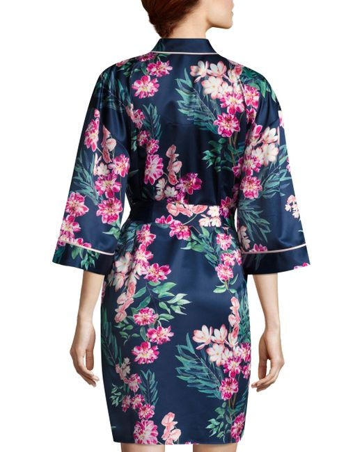 Lyst saks fifth avenue floral robe in blue save 6 for Saks 5th avenue robes de mariage
