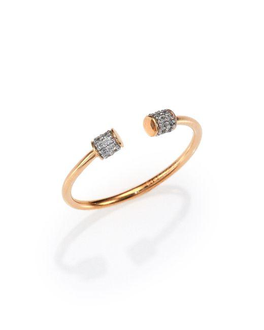 Ginette NY - Metallic Diamond & 18k Rose Gold Choker Open Ring - Lyst