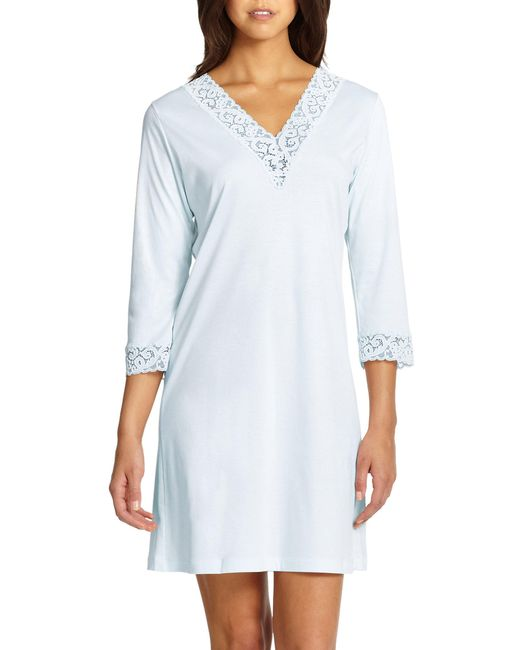 0a609c8e55 Lyst - Hanro Moments Three-quarter Sleeve Sleepshirt in Blue