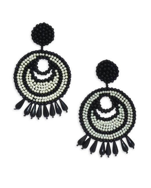 Kenneth Jay Lane - Black Seed Bead Gypsy Hoop Clip-on Earrings - Lyst