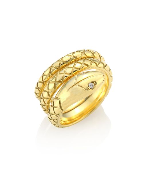 Temple St. Clair - Metallic Double Serpant Diamond & 18k Yellow Gold Ring - Lyst
