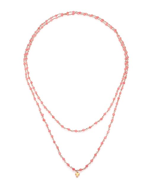 LJ Cross - Gem Sautoirs Pink Muscovite & 14k Rose Gold Beaded Pendant Necklace - Lyst