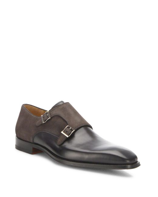 Saks Fifth Avenue | Gray Saks Fifth Avenue By Magnanni Amelio Leather Monk Strap for Men | Lyst