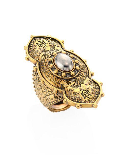 Alexander McQueen | Metallic Jeweled Oval Ring | Lyst